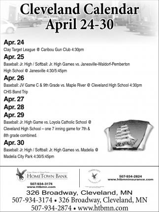 Cleveland Calendar April 24 - 30