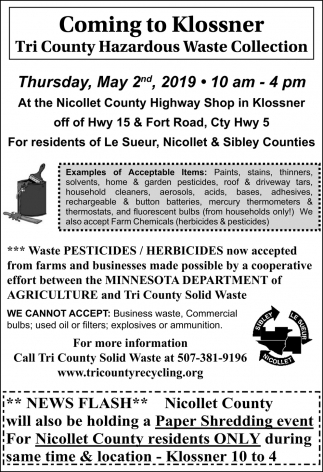 Coming to Klossner - Tri County Hazardous Waste Collection