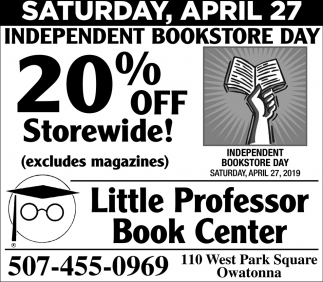 Independent Bookstore Day - 20% off Storewide