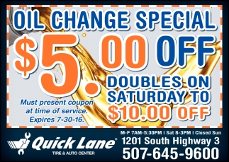 OIL CHANGE SPECIAL $5.00 OFF
