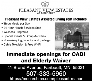 Inmediate openings for CADI and Elderly Waiver, Pleasant View Estates - Faribault