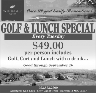 GOLF AND LUNCH SPECIAL