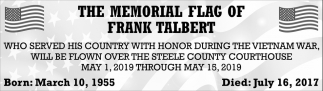 Memorial Flag of Frank Talbert