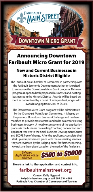 Announcing Downtown Faribault Micro Grant for 2019