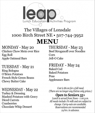 Lunch Education Activities Program, The Villages Of Lonsdale, Northfield, MN