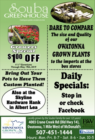 Bring Out your Pots to Have Them Custom Planted!, Souba Greenhouse, Owatonna, MN