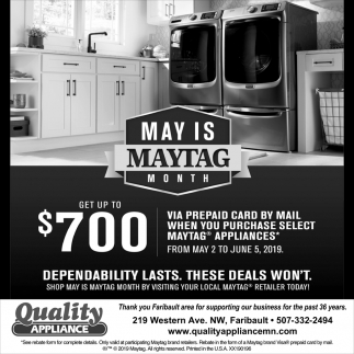 May is Maytag Month, Quality Appliance, Faribault, MN
