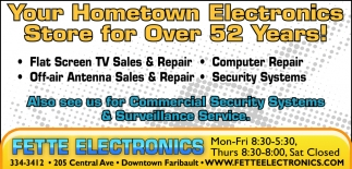 Your Hometown Electronics Store for Over 52 Years!