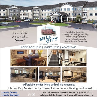 Affordable Senior Living with all the amenities, Mill City Senior Living, Faribault, MN