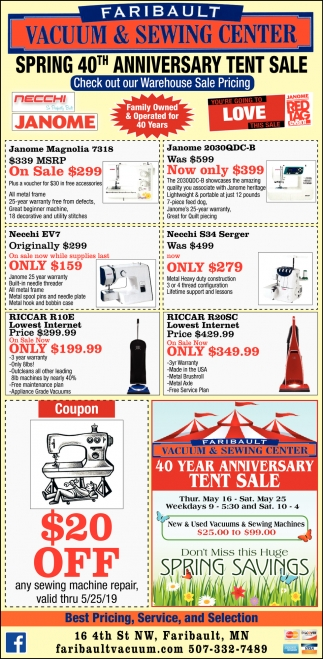 Spring 40th Anniversary Tent Sale
