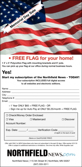 Memorial Day Sale - Free Flag for Your Home!