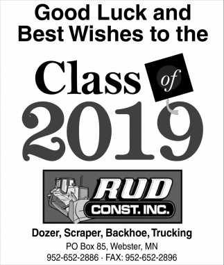 Good Luck and Best Wishes to the Class of 2019