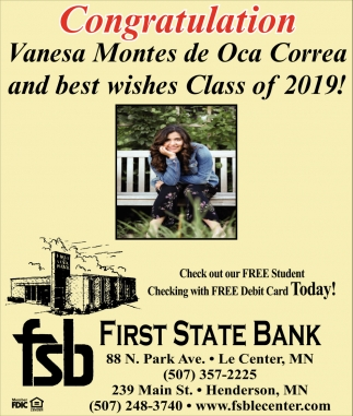 Congratulation Vanesa Montes de Oca Correa and best wishes Class of 2019!
