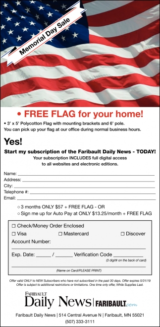 Free Flag For Your Home! -  Memorial Day Sale, The Faribault Daily News, Faribault, MN