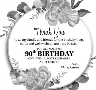 90th Birthday Mavis Caron