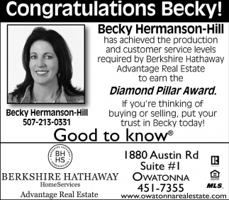 Congratulations Becky! Diamond Pillar Award