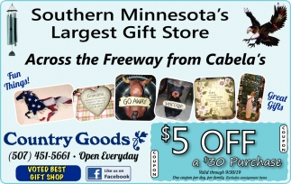 Southern Minnesota's Largest Gift Store