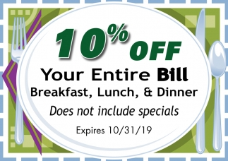 10% Off Your Entire Bill