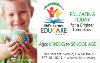 Educating today for a Brighter Tomorrow, Kid's Korner Educare Center Inc, Owatonna, MN