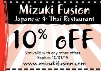 10% Off - Not valid with any other offers