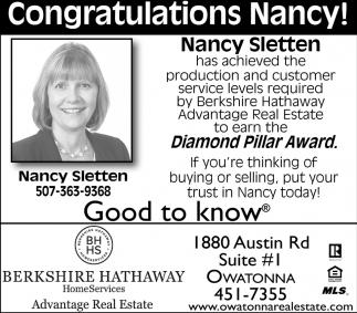 Congratulations Nancy! Diamond Pillar Award