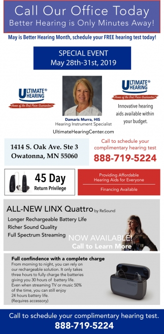 Call Our Office Today Better Hearing is Only Minutes Away!