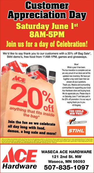 Customer Appreciation Day June 1st