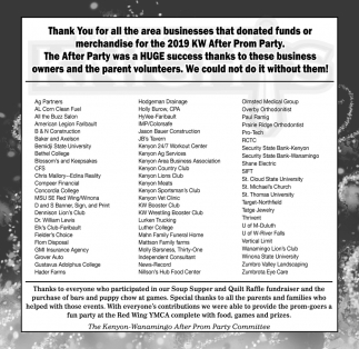 Thank You for all the area businesses that donated funds or