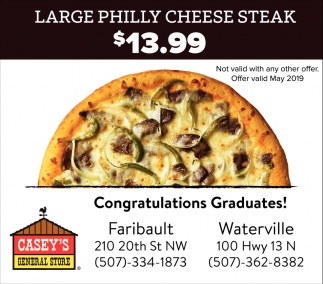 Congratulations Graduates | Large Philly Cheese Steak $13.99
