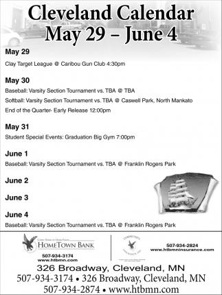 Cleveland Calendar May 29 - June 4
