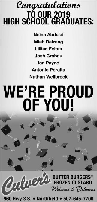 Congratulations 2019 High School Graduates: Neina Abdulai, Miah Defrang, Lillian Feltes, Josh Grabau, Ian Payne, Antonio Peralta, Nathan Wellborck
