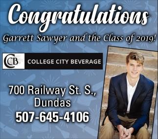 Congratulations Garrett Sawyer and the Class of 2019!