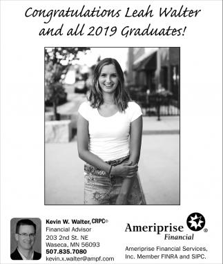 Congratulations Leah Walter and all 2019 Graduates!