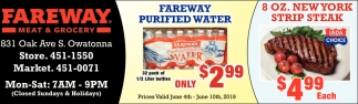Fareway Purified Water $2.99