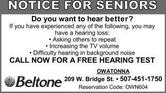 Call now for a free hearing test, Beltone - Owatonna, Owatonna, MN