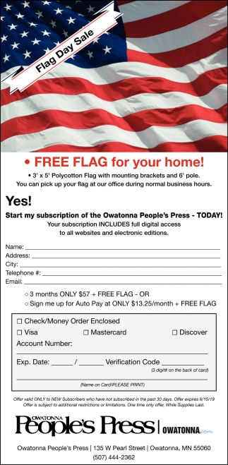 Free Flag For Your Home! -  Flag Day Sale