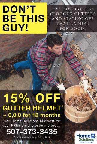 15% off Gutter Helmet +0,0,0 for 18 months