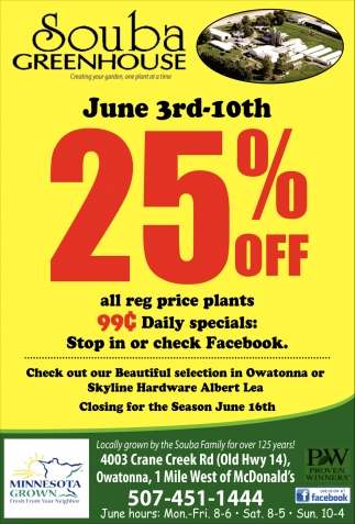 25% off all reg price plants