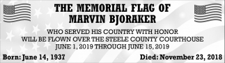 Memorial Flag of Marvin Bjoraker