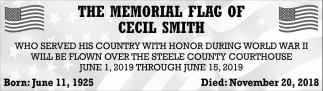 Memorial Flag of Cecil Smith