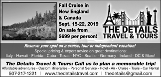 Fall Cruise in New England & Canada