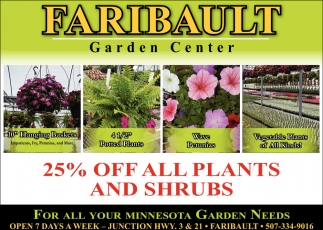 25% off all plants and shrubs