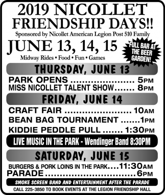 2019 Nicollet Friendship Days!, Nicollet American Legion Post 510, Nicollet, MN