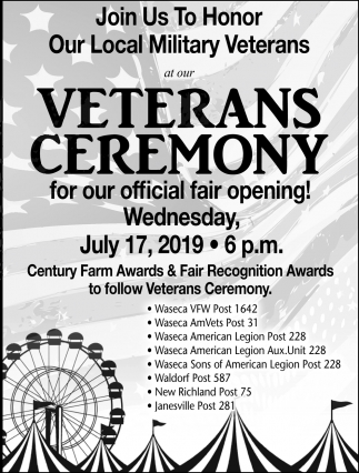 Veterans Ceremony for our official fair opnening - July 17