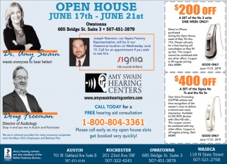 Open House, June 17th - June 21st, Amy Swain Hearing Centers, Waseca, MN
