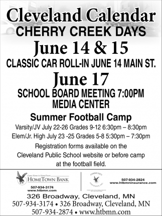Cleveland Calendar - Cherry Creek Days