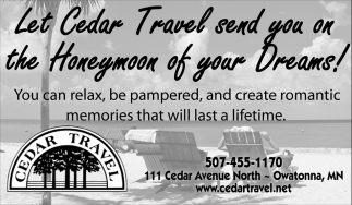 Let Cedar Travel send you on the Honeymoon of your Dreams!
