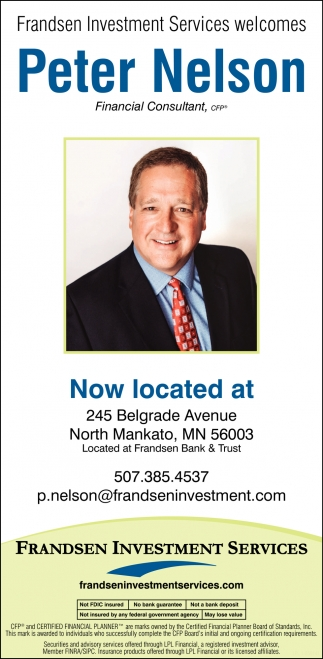 Welcome Peter Nelson, Financial Consultant