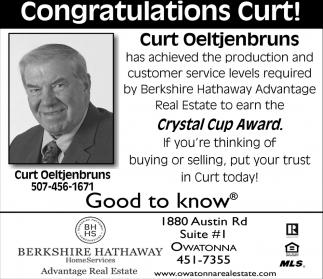 Congratulations Curt! - Crystal Cup Award