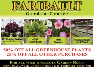 50% off all greenhouse plants